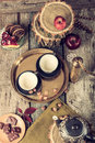 Tea pottery set in retro vintage style on table Royalty Free Stock Photo