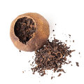 Tea pu erh packed in dried mandarin isolated chinese dark peel on white Stock Images