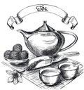 Tea pu-erh. set of vector sketches