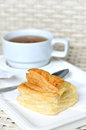 Tea with puff pastry Royalty Free Stock Photo