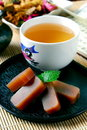 Tea and red bean jelly Stock Images