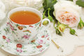 Tea with rose spring still life morning dessert Stock Photography