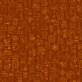 Tea seamless background with thin line icons - black tea pattern