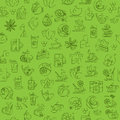 Tea seamless background with thin line icons - green tea pattern