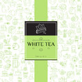 Tea seamless background with thin line icons - white tea pattern
