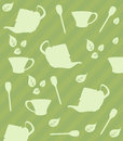 Tea seamless pattern cups of spoons and leaves in different positions Royalty Free Stock Image