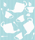 Tea seamless pattern cups of spoons and leaves in different positions blue background Royalty Free Stock Photo