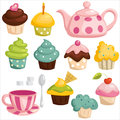 Tea set and cupcakes Royalty Free Stock Image