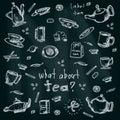 Tea set elements. hand-drawn illustration Royalty Free Stock Photo