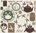 Tea set isolated objects vector illustration eps Royalty Free Stock Photos