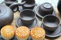 stock image of  Tea set with mooncake