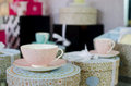 Tea set in a store sets Royalty Free Stock Photos