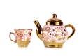 Tea sets close up  on white background Royalty Free Stock Photo