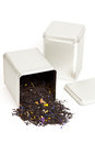 Tea spilling out of a tea box Royalty Free Stock Photo