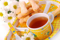 Tea and sponge fingers for child Stock Photo
