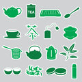 Tea stickers set green eps Stock Photos