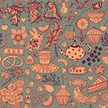 Tea,sweets seamless doodle pattern. Copy that square to the side