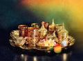 Tea table Oriental hospitality Ramadan vintage light leaks