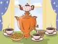 Tea table with samovar in Slavic style