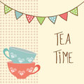 Tea time beautiful vintage card with cups and flags vector illustration Stock Photos