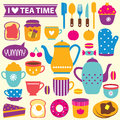 Tea time clip art set Royalty Free Stock Photo