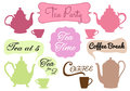 Tea time coffee break vector and cofee with word art in frames set Stock Images