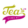 Tea time design menu template calligraphic inscription with elements Royalty Free Stock Photography