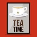 Tea time design over red background vector illustration Royalty Free Stock Photo