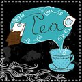 Tea time design template blue cup vector Stock Photo