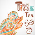 Tea time. Doodle lettering with cute cup. Autumn