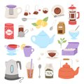 Tea time drinking procedure icons how to prepare hot drink instruction traditional teapot kettle cooking vector Royalty Free Stock Photo