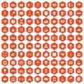 100 tea time food icons hexagon orange