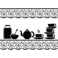 Tea time icons for with jam tablecloth with stylized embroidery ornament black and white graphics Stock Images
