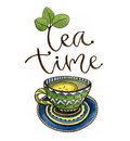 Tea time illustration with calligraphy. Watercolor print with tea cup and lemon. Poster or greeting card design.