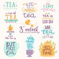 Tea time lettering logo quote vector lettering handdrawn cup of tea vintage print teatime typography poster design