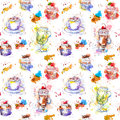 Tea time party repeating pattern. Cupcake cakes, tea, coffee cup Royalty Free Stock Photo