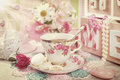 Tea time in romantic vintage style Royalty Free Stock Photo
