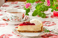 Tea time. Strawberry cheesecake and cup of tea. Stock Photography