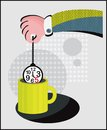 Tea time vector illustration of hand and clocks Royalty Free Stock Photo