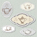 Tea time vintage label set cup and pot in style on polka dot seamless victorian pattern Stock Photography