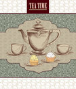 Tea time vintage label vector victorian illustration cup and pot in style on floral seamless pattern party invitation Stock Photos