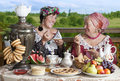 Tea time vintage styled photograph of mature women drinking Royalty Free Stock Photo