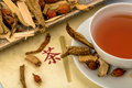 Tea for traditional chinese medicine ingredients a in healing of diseases through alternative methods Royalty Free Stock Image