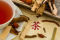 Tea for traditional chinese medicine ingredients a in healing of diseases through alternative methods Stock Photo