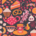 Tea vector seamless doodle teatime backdrop.Cakes to celebrate a