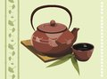 Tea vector teapot with cup and leafs Stock Photography