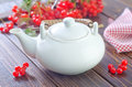 Tea and viburnum on a table Stock Image