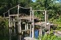 Wooden bridgeflowing riverartisanal woodwoodsbright day Royalty Free Stock Photo