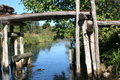 RiverbridgevegetationSunny daywater Royalty Free Stock Photo