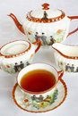 Tea in vintage tea set Royalty Free Stock Image